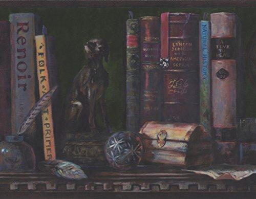 Norwall Vintage Bücherregal Tintenfass Feder Schiff Maquette Globus dunkel grüne Tapete Grenze Retro-Design, Rollen 15 x 10,5 Zoll (Bücherregal Schiffe)