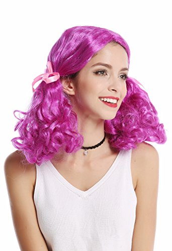 WIG ME UP - 2466-ZA51 Perücke Damen Karneval Halloween lila Girly Lolita 2 lockig buschige Zöpfe ()