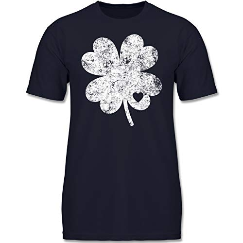 Anlässe Kinder - Vintage Kleeblatt mit Herz - 152 (12-13 Jahre) - Dunkelblau - F130K - Jungen Kinder T-Shirt