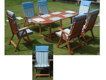 Tischgruppe mit 6 Stühlen und Sitzpolstern, Gartentischgruppe, Eukalytusholzgruppe