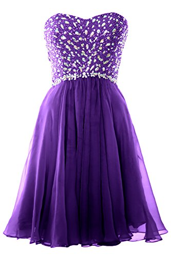 MACloth Women Strapless Crystals Chiffon Short Prom Dress Cocktail Formal Gown Violett