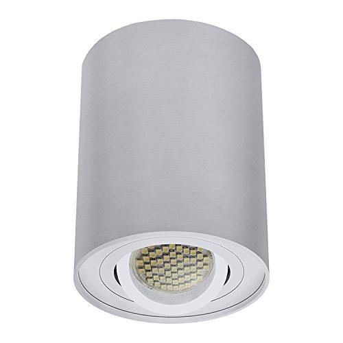 LED Deckenaufbaustrahler / Aufbauleuchte / Aufputz Deckenleuchte / schwenkbar / Aluminium / GU10-230V (RUND-122550) (Warmweiß)