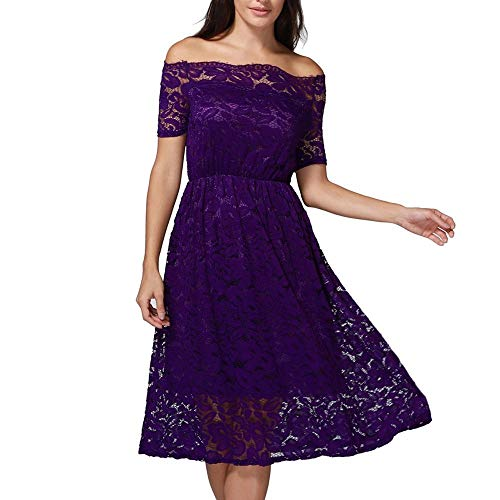Go First Womens Summer Sexy Schulterfrei Lace Shift Loose Slash Neck Halbarm Beach Party Minikleid (Color : Lila, Size : XX-Large) (Elsa Womens Kleid)