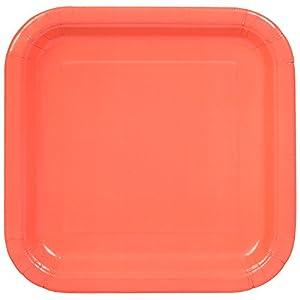 Unique Party Paquete de 14 platos cuadrados de papel Color rosa coral 23 cm 99285