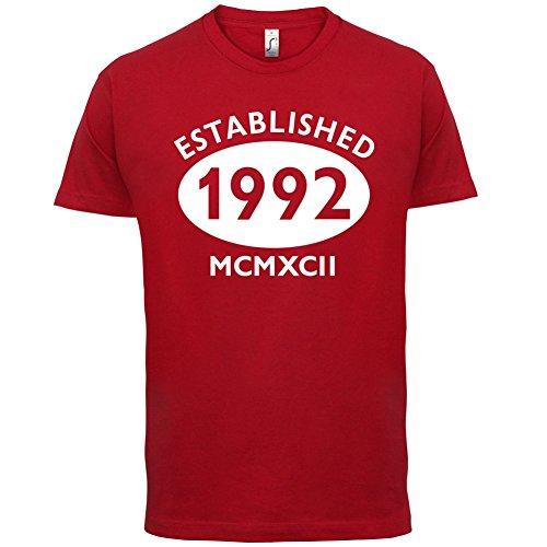 Gegründet 1992 Römische Ziffern - 25 Geburtstag - Herren T-Shirt - 13 Farben Rot