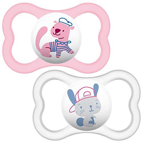 MAM - Set di 2 succhietti con custodia da viaggio sterilizzabile, Bianco (White/Pink), 6+ mesi