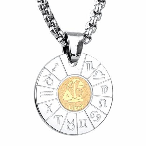 COPAUL Schmuck Edelstahl Tierkreis Sternzeichen Waage Anhänger Kette Halskette für Herren Damen, Gold Silber