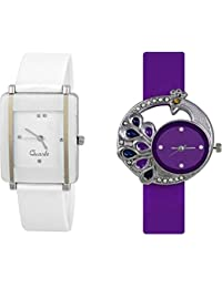 Xforia Girls Watch Rubber Band Black & White Dial Watches For Women (Pack Of 2 VS-FLX-961)