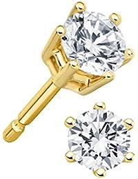 Juwelier Gelber Diamant Ohrstecker Lupenrein 0,50 ct 585 14 Kt Gold Klassische 6er Krappen Fassung Brillant Schliff