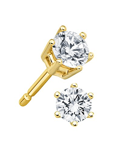 Juwelier Gelber Diamant Ohrstecker Lupenrein 0,30 ct 585 14 Kt Gold