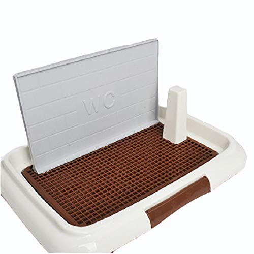 Gmjay Pet WC Tray Training Pad Halter Mit Zaun Hunde Indoor Outdoor Verwendung Puppy Loo Töpfchen Square Grid Splash Dog Potty,Coffee-Color,small -