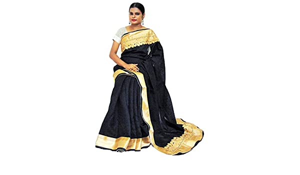 ca347e8a6d009 Viukart Designer Black Linen saree without Blouse Piece  Amazon.in   Clothing   Accessories