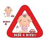 Haberdashery Online Pegatina Adhesiva Bebé a Bordo. Adhesivo vinilo para coche o moto. 15 x 13,7 cm. (4. Niña)