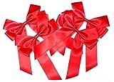 CaPiSo® 4 Stück große Schleife 20 x 30 cm Satinschleife,Glitzerschleife,Lurexschleife,Geschenkschleife Geschenk (Satin Rot Knallrot)