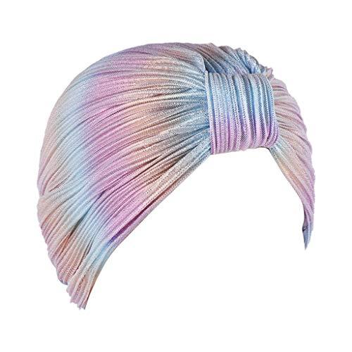 LILIGOD Frauen Geraffte Indien Hut Muslimischen Rüschen Krebs Chemo Beanie Turban Wrap Cap Damen Gefaltete Baotou Kappe Moslemische Kopftuchkappe Mode Elegant Kopftuch