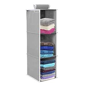 Wonder Cub Hanging Organizer 3 Shelves Wardrobe Organiser - Grey