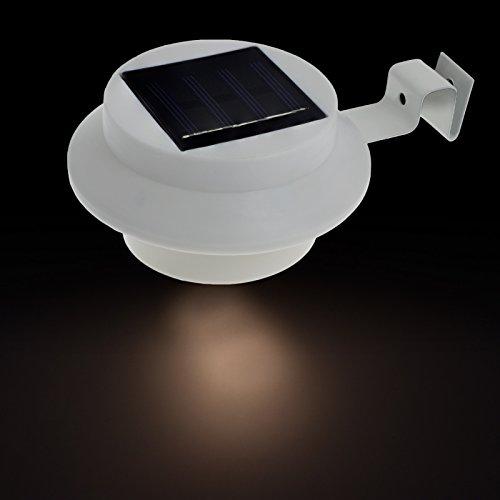 Smartfox LED Solar Garten Wandleuchte rund wetterfest mit Auto On/Off in weiß, Leuchfarbe: warmweiß