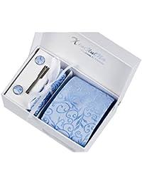 Motif fleurs bleues Ensemble Cravate d'homme , Mouchoir , épingle et boutons de manchette coffret cadeau