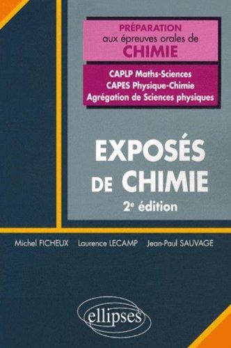 Exposes Chimie Concours Caplp2 Maths Sciences Capes Physique Chimie Agregation Sciences Physique 2ed par Michel Ficheux