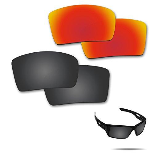 fiskr anti-saltwater Polarisierte Ersatz Gläser für Oakley Augenklappe 2Sonnenbrille 2Paar verpackt, Stealth Black & Fire Red