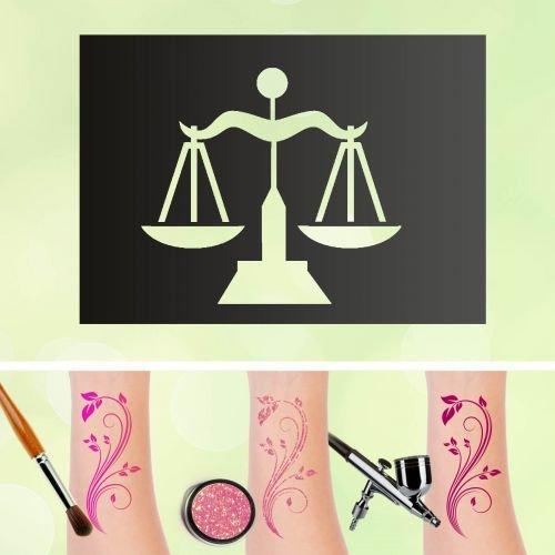 Tattoo stencil bilancia segno zodiacale autoadesivo kinders chminken aerografo
