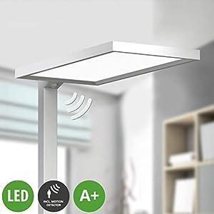 Lampenwelt LED Stehlampe 'Dorean' (Modern) aus Aluminium u.a. für Arbeitszimmer & Büro (2 flammig, A+, inkl. Leuchtmittel) - Büro-Stehleuchte, Bürolampe, Arbeitsplatzlampe, Standleuchte
