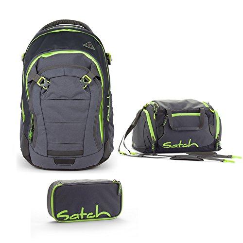 Satch by Ergobag Schulrucksack-Set 3-tlg Match Phantom 802 grün grau