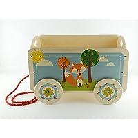 b41b87578f3 Dida - Carretto in legno trainabile porta oggetti e giochi per bambini.  Decoro Volpe.