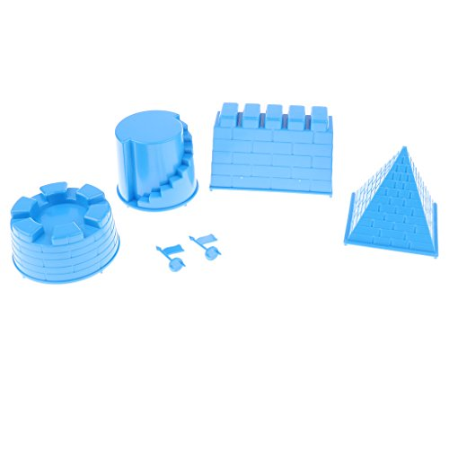 D DOLITY Mini Sandformen Burgen Schloss Sand Form aus Kunstsoff Sandspielzeug für Kinder ab 3 Jahre alt - Blau, 6 pcs