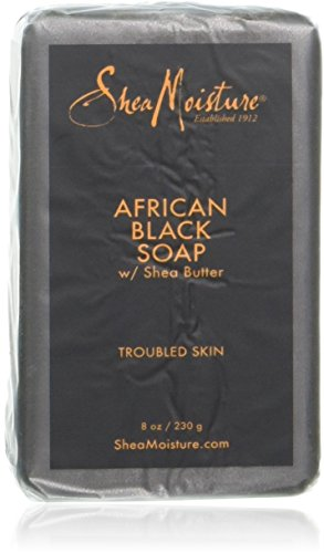 Shea moisture Organic African Black Soap Bar with Shea Butter, 8oz (2 Pack)