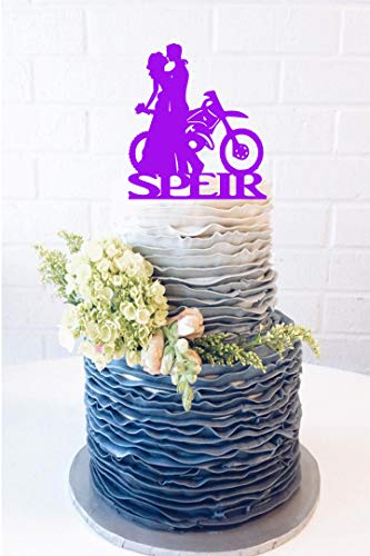 Andrea1Oliver Nachname Dirt Bike Paar Hochzeitstorte Topper Dirt Bike Cake Topper Dirt Bike Topper Braut und Br?utigam Biker Harley Fahrer Fahrrad Br?utigam Kuchen Top (Birthday Party Dirt Supplies Bike)