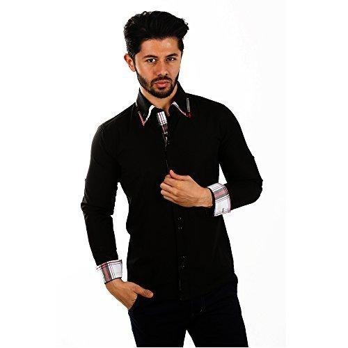 D´Sema Herren Langarm Hemd Slim Fit Freizeithemd Männer Casual Shirt Doppelkragenhemd mit Karo-Design und Turn-Up Funktion Schwarz Gr. L Modell 4