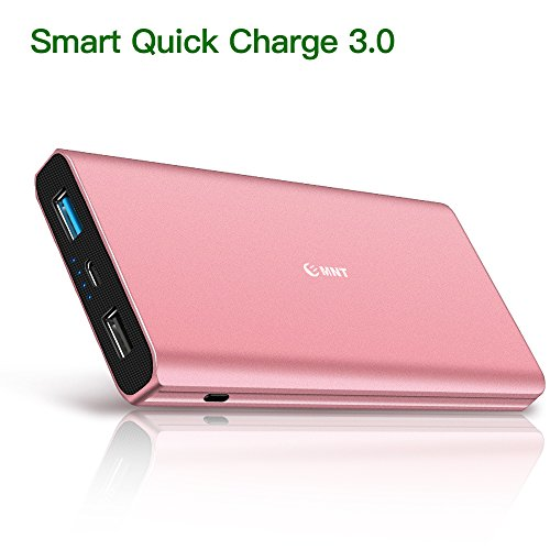 EMNT Tragbares Ladegerät, 10400mAh Externer Akku, hohe Kapazität 2-Anchorage Serving Power Bank Ladegerät mit Schnellladung 3.0 Technologie für iPhone X 8 8Lift 7 6s 6Plus, iPad, Samsung Galaxy(Roségold)