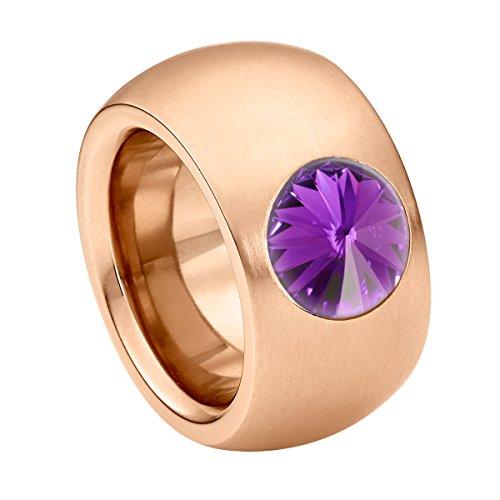 Heideman Damen-Ring coma 14 roségold Gr.64 swarovski kristalle amethyst 10mm Rosegoldring Ring rosegold mit Stein Zirkonia Edelstein Edelstahl Größe 64 (20.4) hr9100-8-204-64 Größe 10 Ring-amethyst