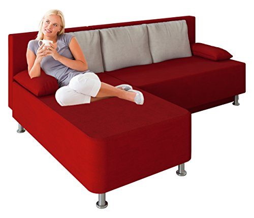 "VCM Ecksofa Schlafsofa Sofa Couch mit Schlaffunktion Gästebett Bettsofa Sofabett Rot 81 x 203 x 78 cm ""Magota"""