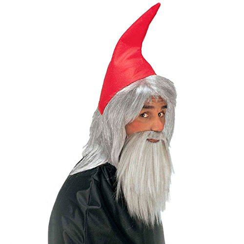 Zwerg Set rot Zwergenmütze mit Haaren und Bart Verkleidung für Zwerge Trolle Wichtel Gnome Gartenzwerg Mütze mit Perücke und Vollbart Märchen Fantasy Elfen Set Fasching Weihnachten Halloween Party Karneval Kostüm Zubehör