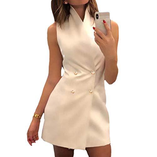 Mujeres Slim Fit Blazers Vestido Elegante Sin Mangas Doble Botonadura Fiesta Casual Color Sólido Oficina...