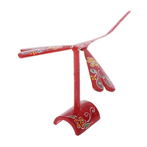 ZJL220 Neuheit Bambus Libelle Balance Vogel Balance Adler Schreibtisch Display Puppe Spielzeug Kind Dekoration Kunsthandwerk Rot