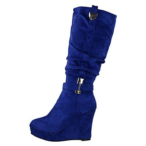 Boots Levemente Botas Do Cunha Ankle Ja72 Azul Salto Calcanhar Acolchoada Botas Alto Cunha De nnHqg6w1x