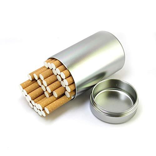 QJIAXING Große Kapazität Metall Zigaretten Gehäuse Mit Gummi-Ring-Dichtung Wasserdichte Männer Outdoor-Tabak-Tee-Topf,Silver,30Sticks (Männer Antiken Ring)