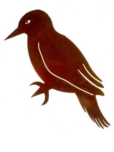 Kleiner Deko Eisen Specht Vogel zum Anbringen an Baum, Holz in Edelrost