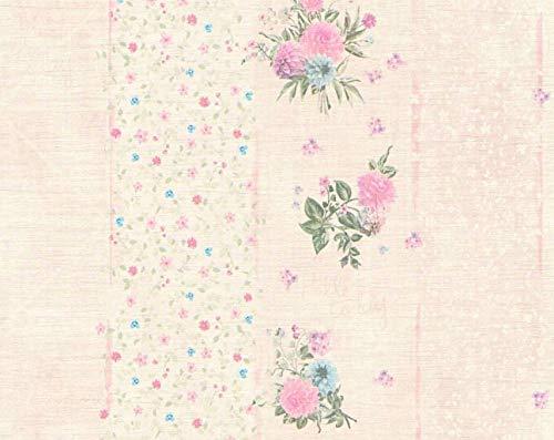 Carta da parati floreale a righe stile shabby chic colori rosa, celeste e verde enjoy 12210-44