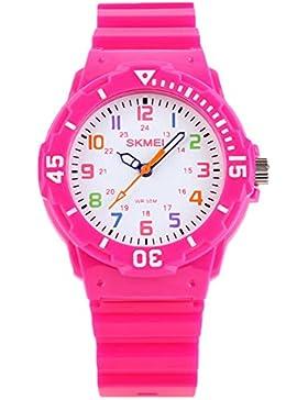 niedlich rosarot Kinder Kinder bunte Wahl Outdoor-Sport-Quarz-Uhr für Junge Mädchen Studenten beobachten