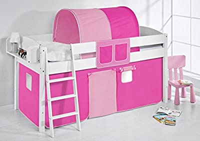 """Cama semi alta """"IDA BLANCA"""" con cortinas convertible en cama baja - Rosa / Pink, 4105 Doble"""