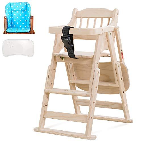 Esszimmerstühle YXX Hölzerner Säuglingshochstuhl mit Komfort-Rückenlehne und Kunststoffplatte, Baby-Kleinkind-Fütterungsstuhl, höhenverstellbar (Color : Style-1) -