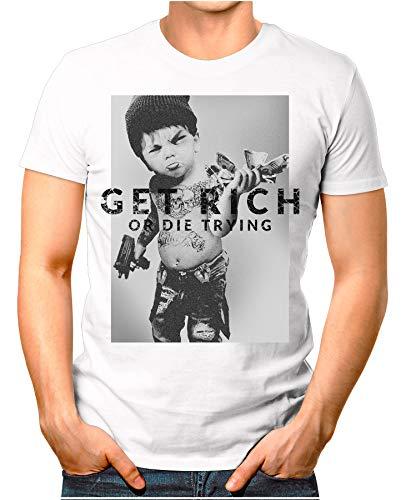 Get-Rich - Herren T-Shirt Or Die Trying Badass Ganster Printshirt Criminal Hustle Weiß 4XL ()