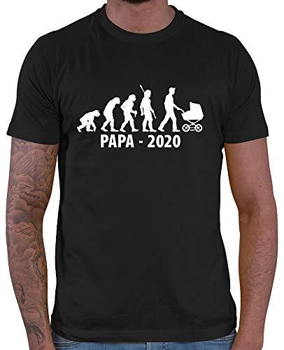 HARIZ  Herren T-Shirt Papa 2020 Evolution Papa Sohn Baby zur Geburt Plus Geschenkkarten Schwarz L