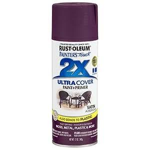 Rust-Oleum 257419 Painter's Touch Acrylic Spray Paint for Plastic, Metal, Wood (Satin Aubergine - 340 Grams)