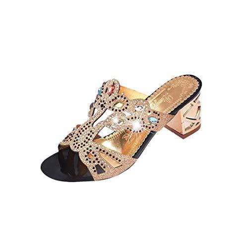 Sandalen Sannysis Damen Sommer Mode Frauen Mädchen Große Strass High Heel Sandaletten Damen Strand Sandale Flip Flops Bohemia Flach Zehentrenner Sandalen