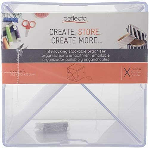 Deflecto 350201CR, stapelbare Würfel-Organizer, kreuzförmige Trennblätter, transparent, herausnehmbare Trennwände, 15,2 x 15,2 x 15,2 cm (B x H x T) - Cube Storage-system